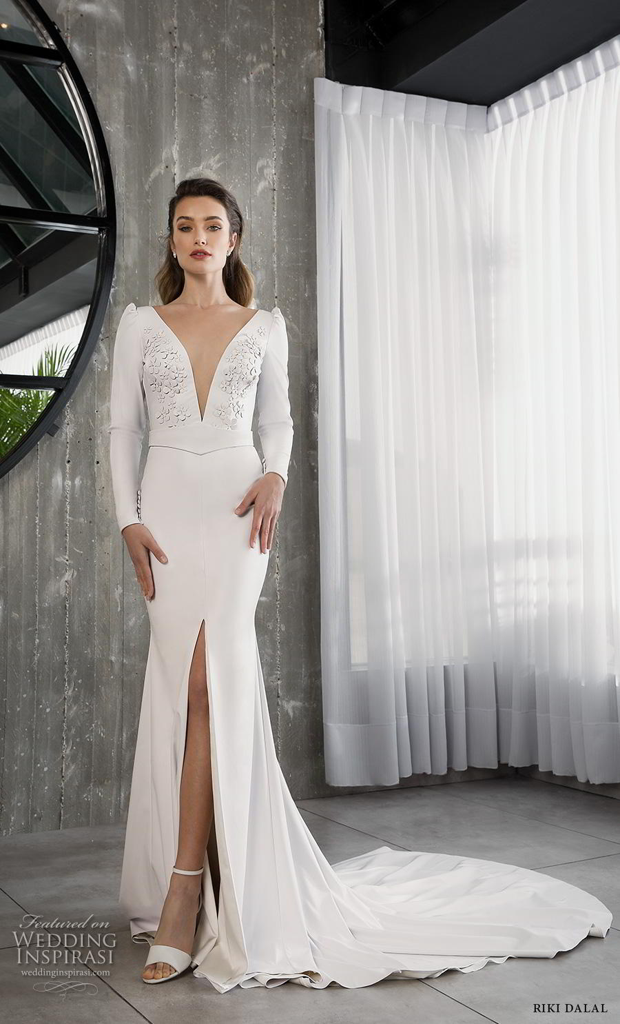 riki dalal 2018 glamour bridal long sleeves deep v neck heavily embellished bodice slit skirt simple sheath wedding dress backless v back chapel train (13) mv