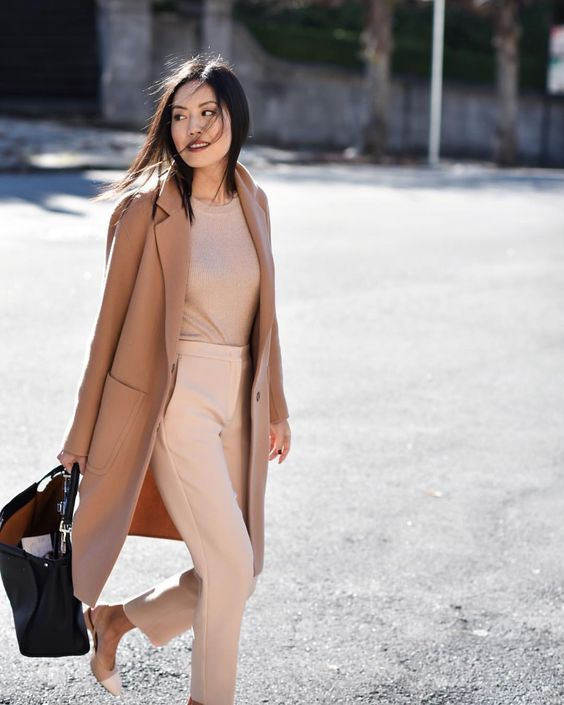 blush pants, a tan top, a cemal coat and heels for a pastel and neutral outfit