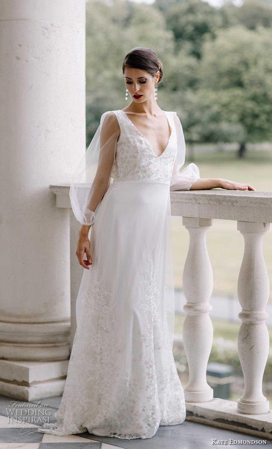 kate edmondson couture bridal long bishop sleeves v neck heavily embelliished bodice hem elegant modified a line wedding dress backless scoop back sweep train (4) mv