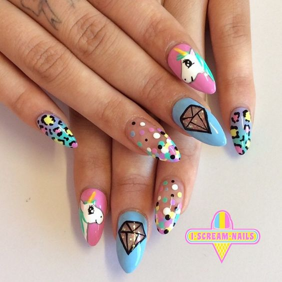 Cute Japanese Unicorn Nail Design