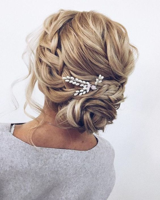 Wedding Messy Bun Hairdo with Embellishments