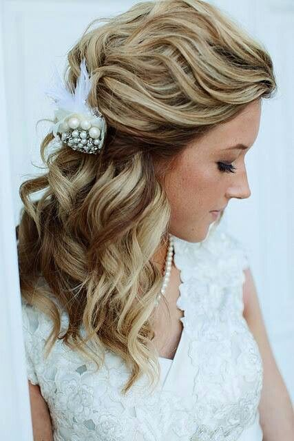Side Swept Hair Tucked in a Floral Clip