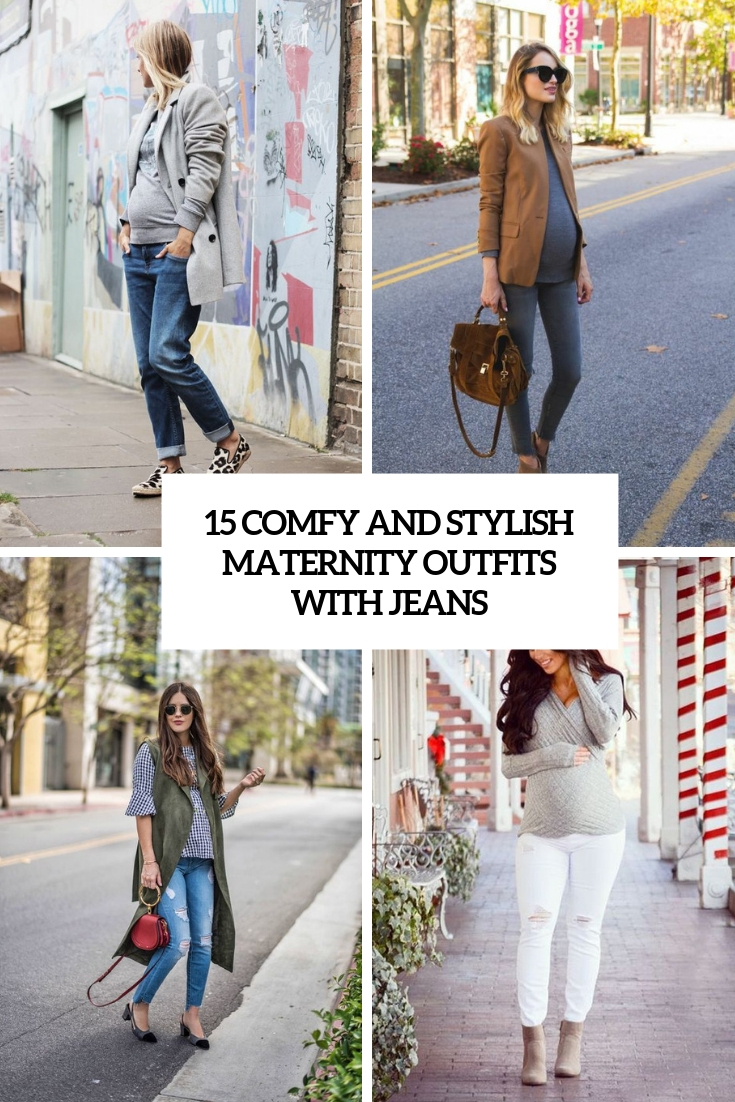 comfy and stylish maternity outfits with jeans cover