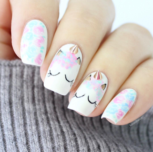 Unicorn Eyes and Horn Nail Design