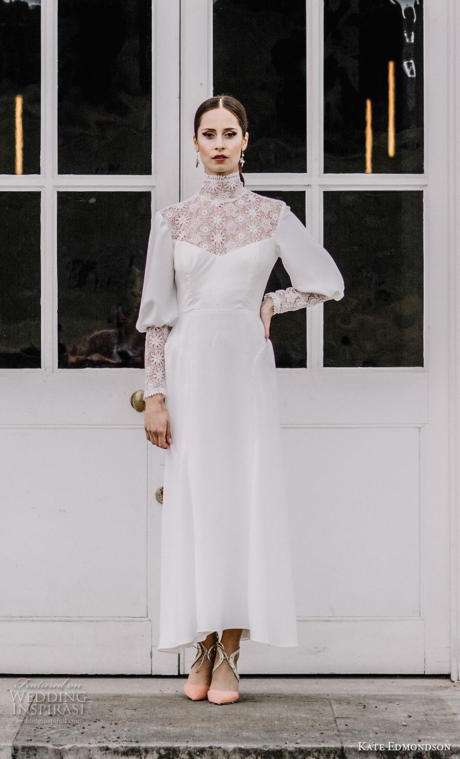 kate edmondson couture bridal long mutton leg sleeves high neck heavily embellished bodice simple casual ankle length modified a line wedding dress (3) mv
