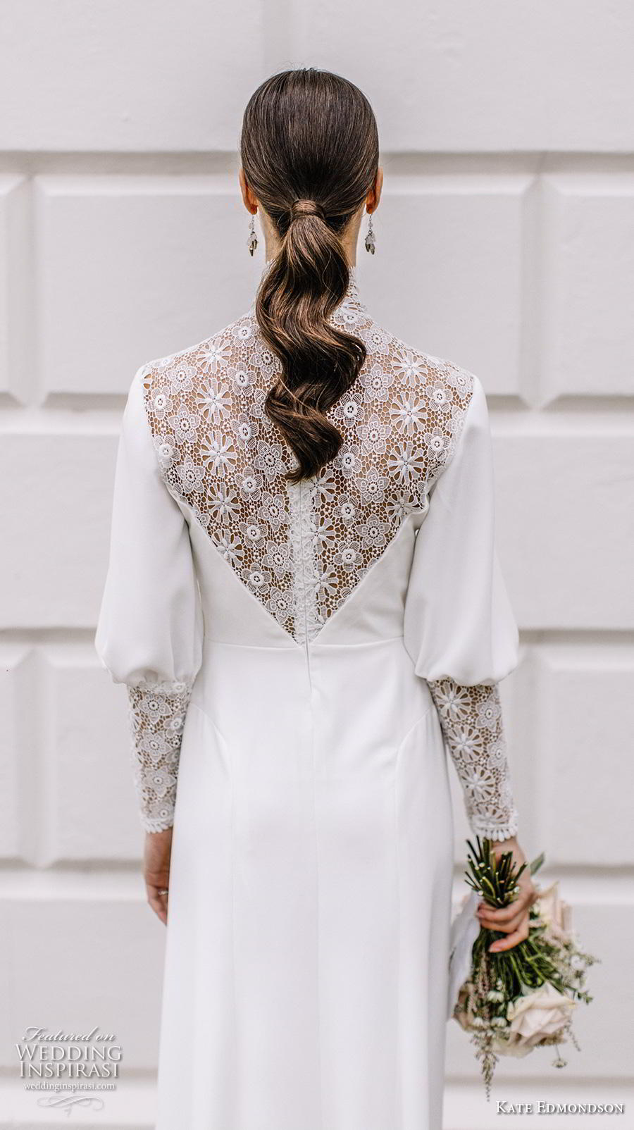 kate edmondson couture bridal long mutton leg sleeves high neck heavily embellished bodice simple casual ankle length modified a line wedding dress (3) zbv