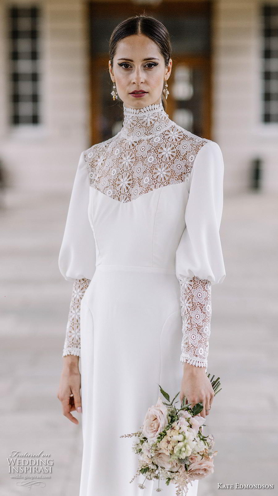 kate edmondson couture bridal long mutton leg sleeves high neck heavily embellished bodice simple casual ankle length modified a line wedding dress (3) zv