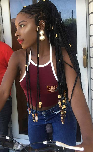 Fulani Braids into a Long, High Ponytail