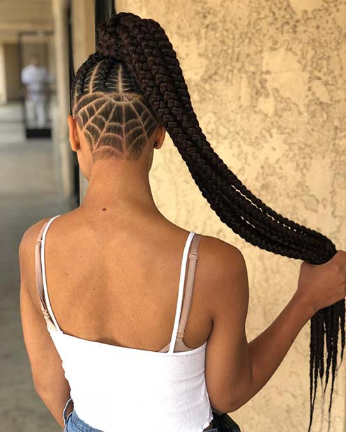 Long, Braided Ponytail + Undercut