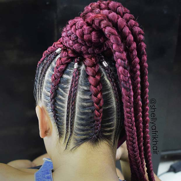 Burgundy Braided Ponytail