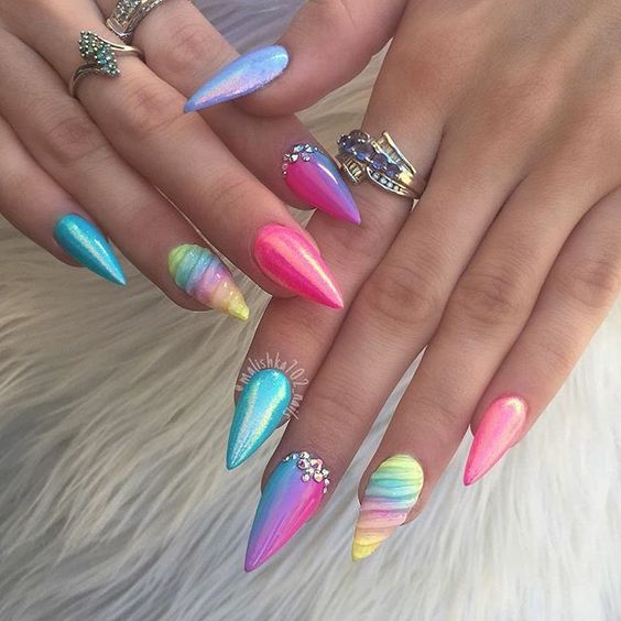 Rainbow Theme Unicorn Nails
