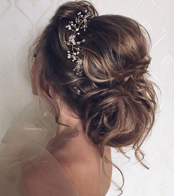 Low Bun With a Silver Headband Crown