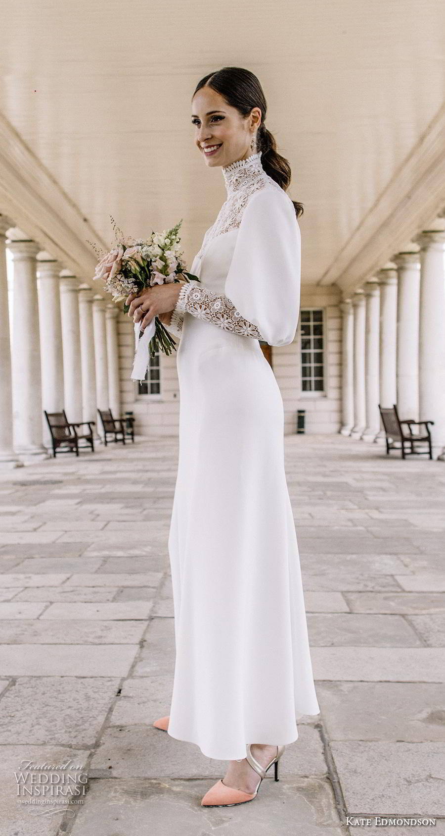 kate edmondson couture bridal long mutton leg sleeves high neck heavily embellished bodice simple casual ankle length modified a line wedding dress (3) sdv