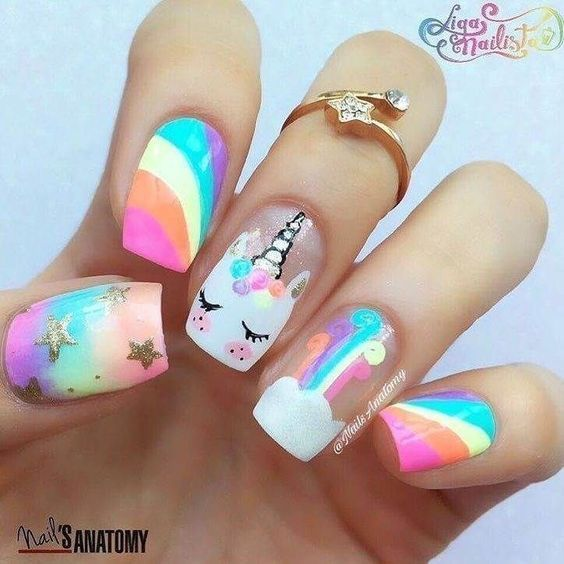 Cute Rainbow Unicorn Face Nail Design