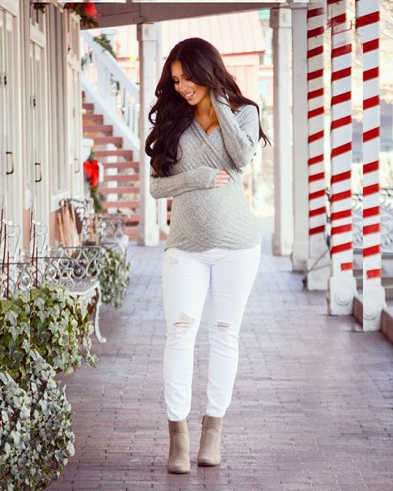 white jeans, a grey wrap sweater, beige booties for a stylish fall look