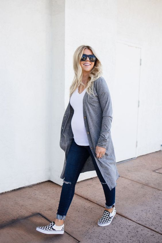 navy ripped skinnies, a white t-shirt, a long grey cardigan and checked slipons for comfort