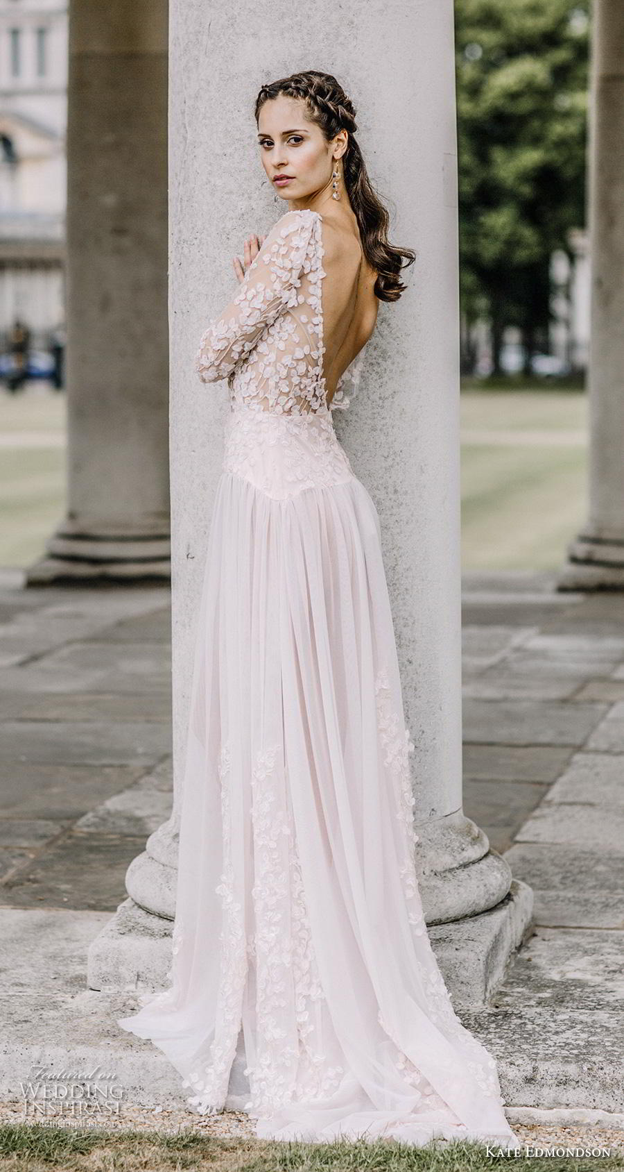 kate edmondson couture bridal half sleeves bateau neck heavily embellished bodice romantic blush soft a line wedding dress backless v back short train (2) bv