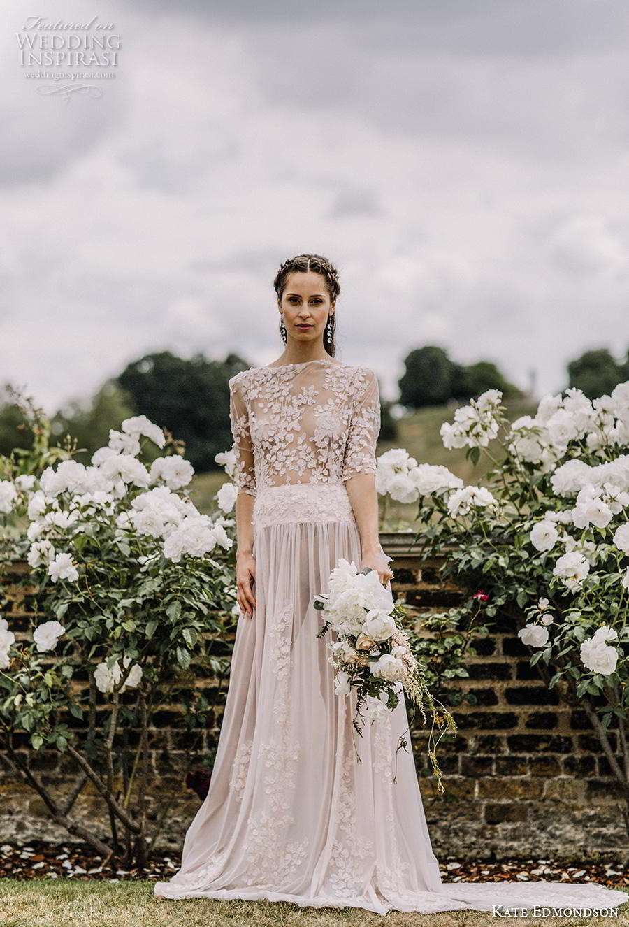 kate edmondson couture bridal half sleeves bateau neck heavily embellished bodice romantic blush soft a line wedding dress backless v back short train (2) mv