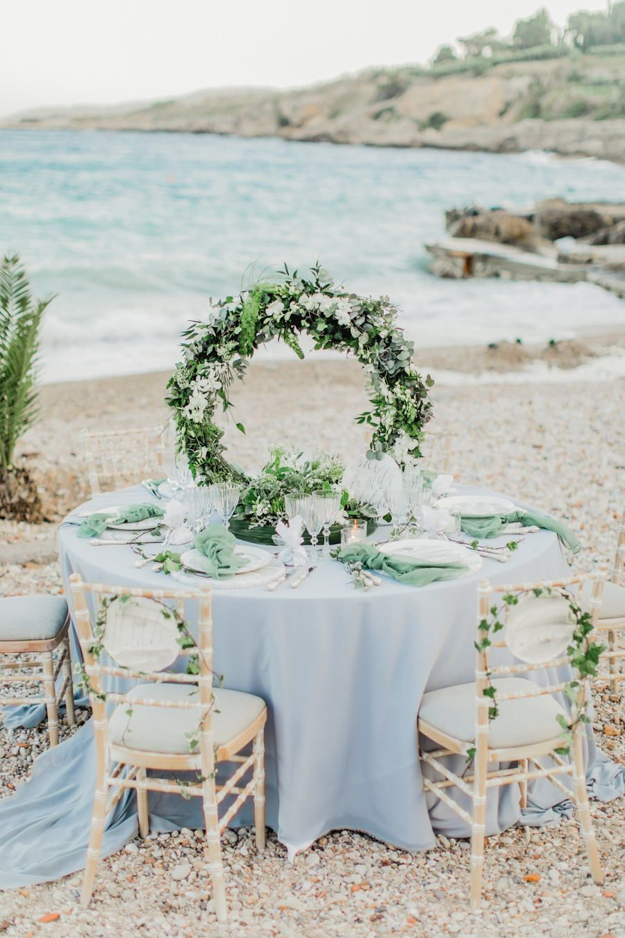 floral hoop wedding centerpiece seaside reception