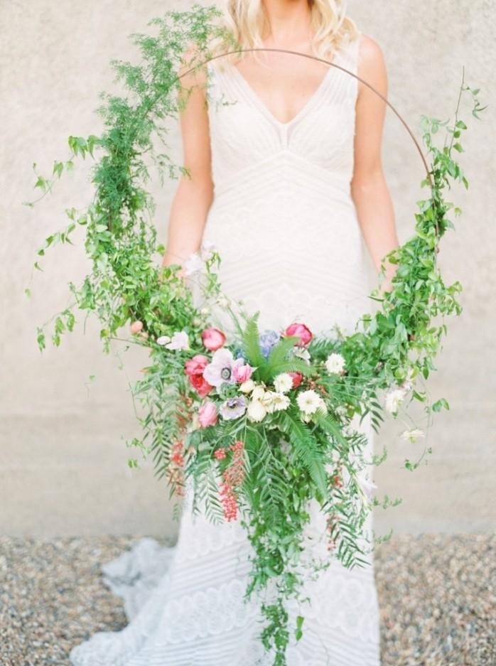 oversized floral hoop bouquet
