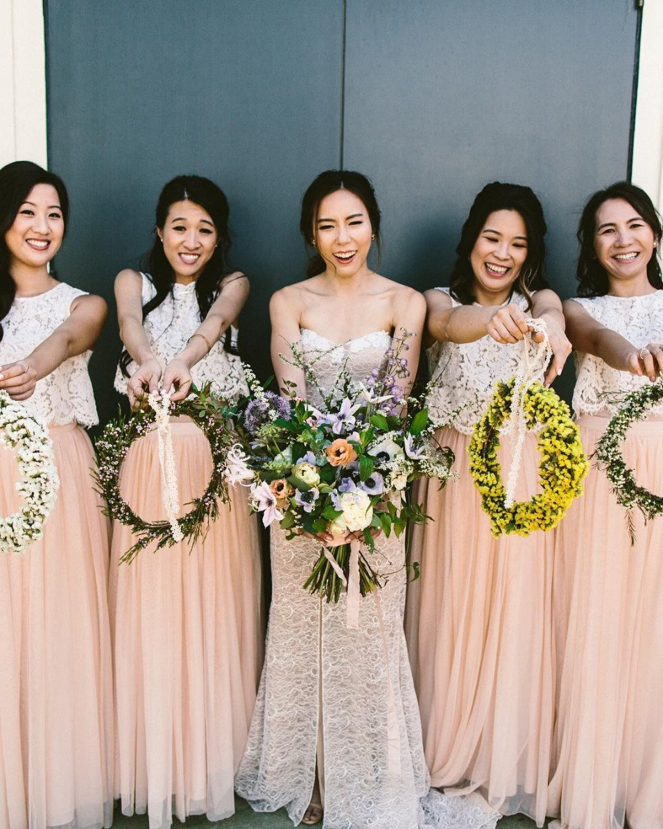 bridesmaid floral hoop bouquets