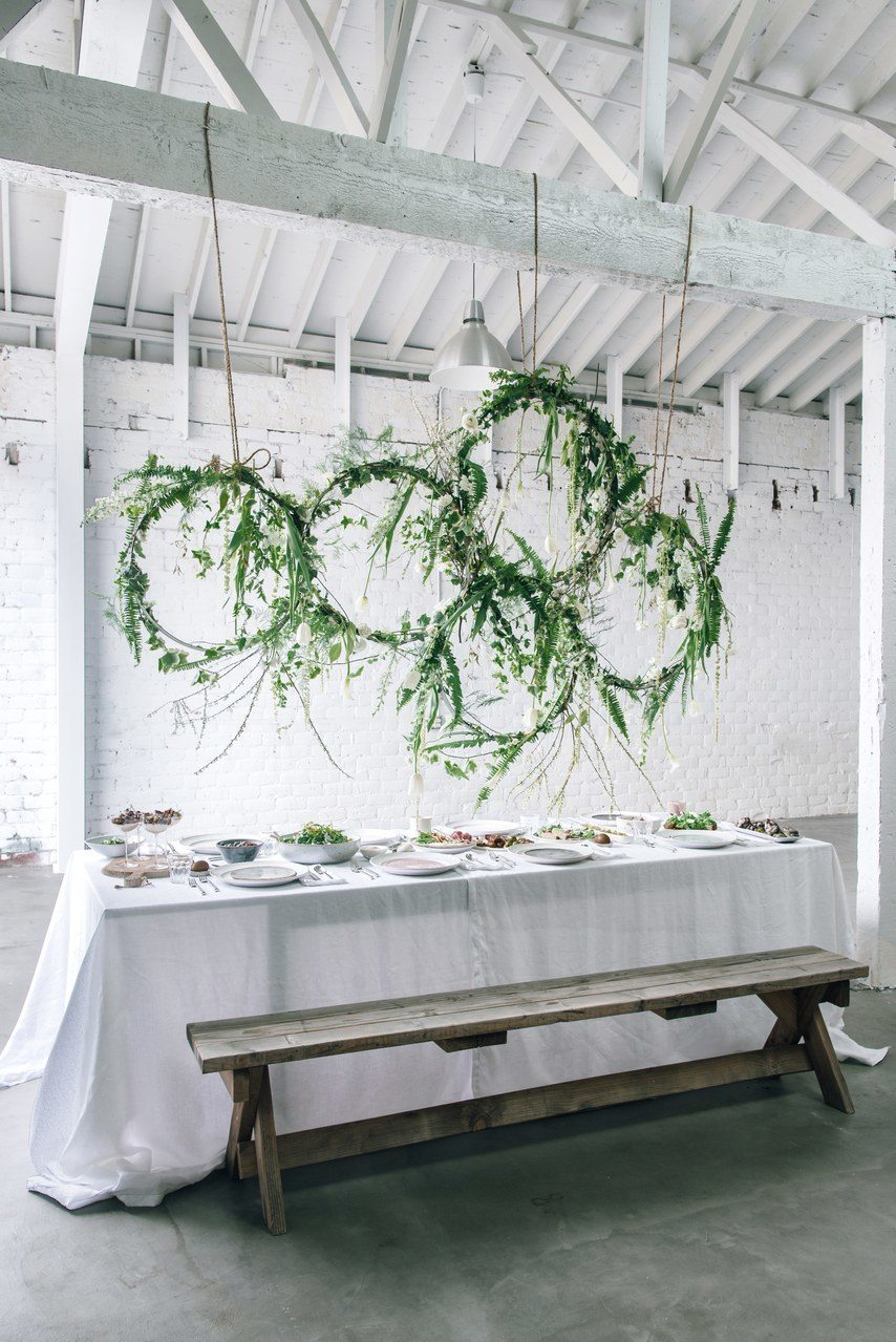 fern wreath tablescape floral installation