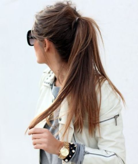 a messy ponytail with long straight hair and a messy bump is ideal to wear to work, college or anywhere else