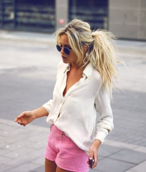 why not rock a super messy ponytail with a messy bump and bangs for a very relaxed and effortless look