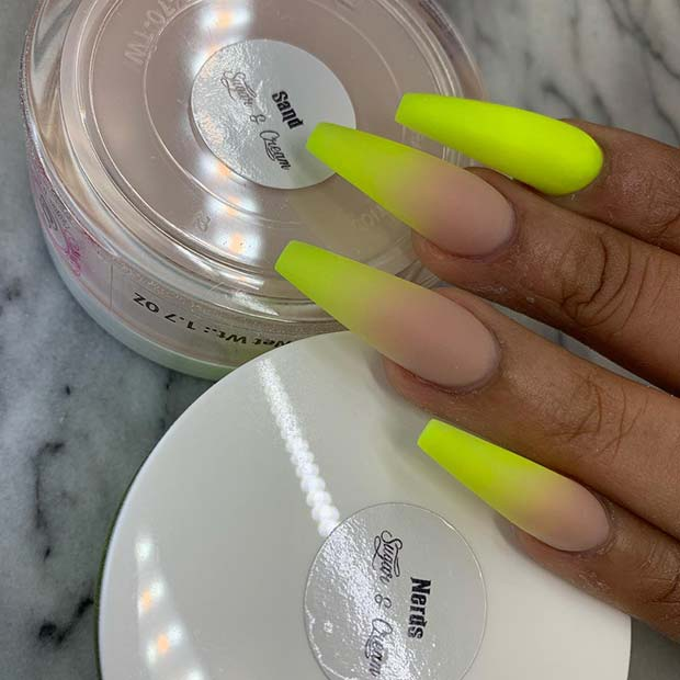 Matte Neon Yellow Nail Idea