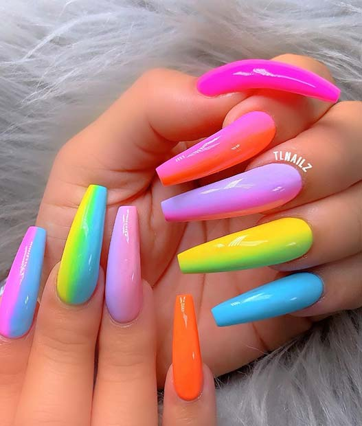 Long, Candy Neon Nails