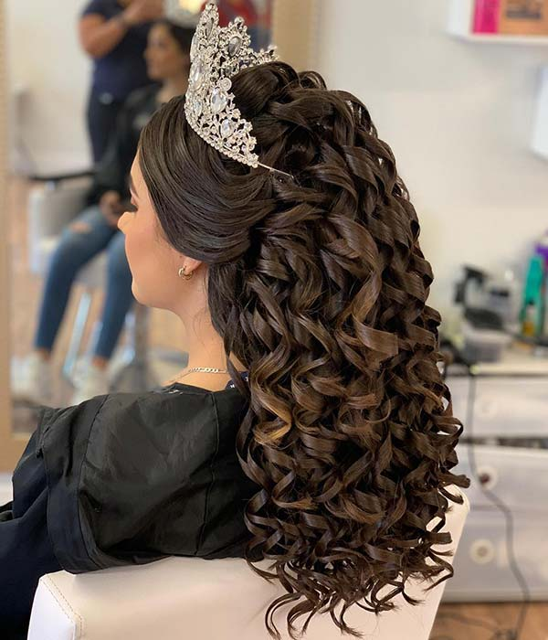 Glamorous Quinceanera Hairstyle with Stunning Tiara