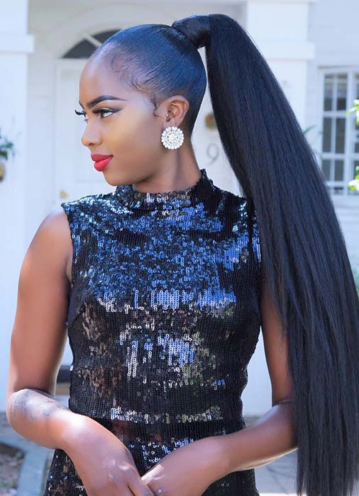 Sleek and Long Ponytail with Weave