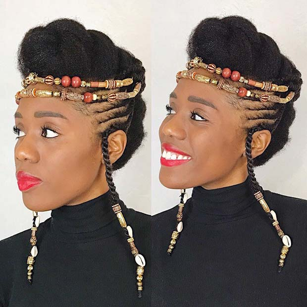 Beaded Natural Updo